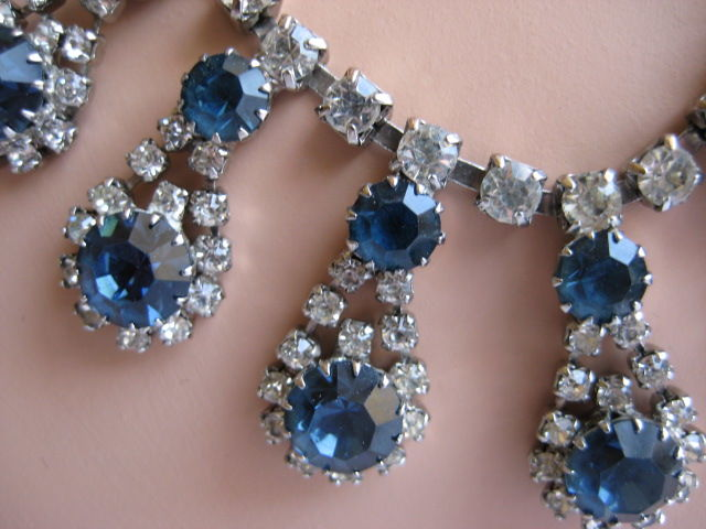 Stunning Rhinestone Necklace Crystal and Sapphire Blue - product images  of