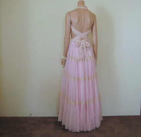 Pink Chiffon Party Dress Plunging Backless Halter Tie with Pleated Skirt Vintage Remix OOAK - product images  of