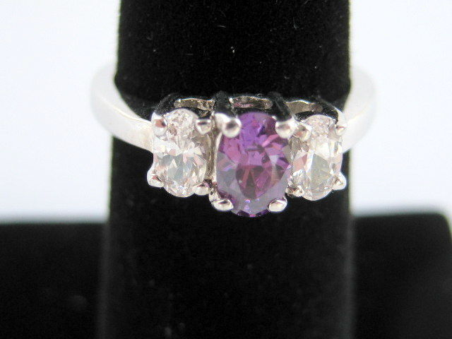 Three Stone Amethyst and Cubic Zirconia Ring - product image