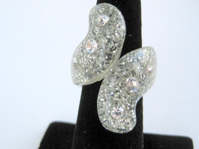 Bling Bling Glitter and Rhinestone Lucite Ring - product images  of