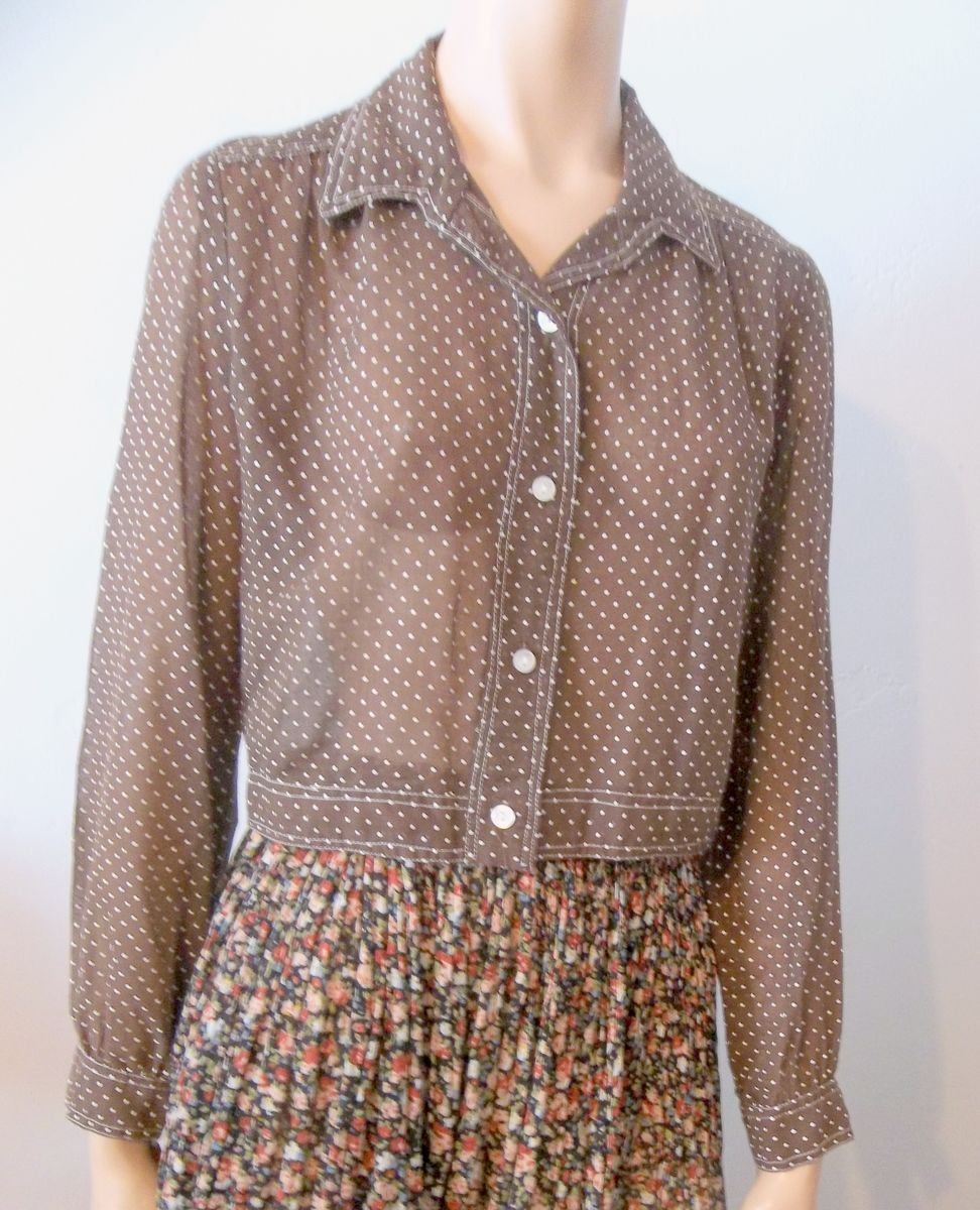 Vintage Polka Dot Sheer Crop Jacket Brown and White - product image