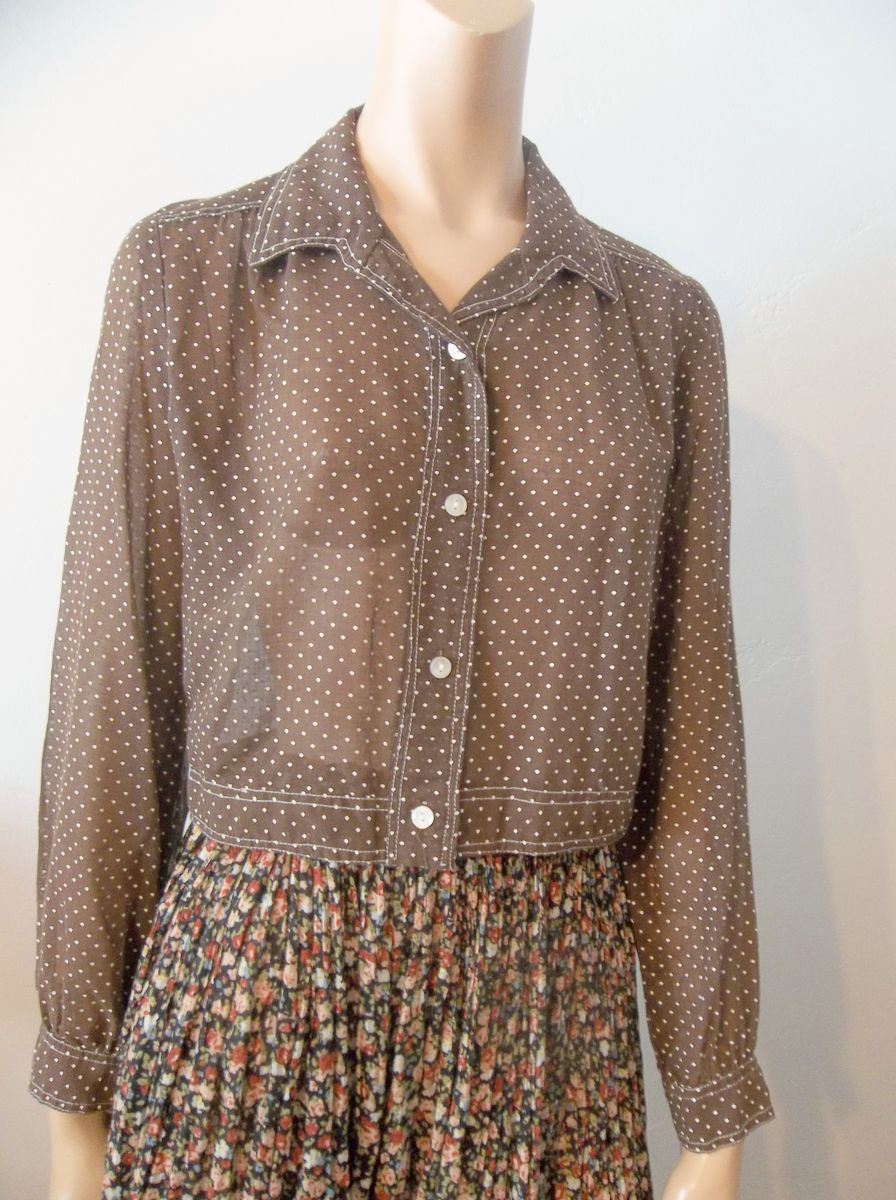Vintage Polka Dot Sheer Crop Jacket Brown and White - product images  of