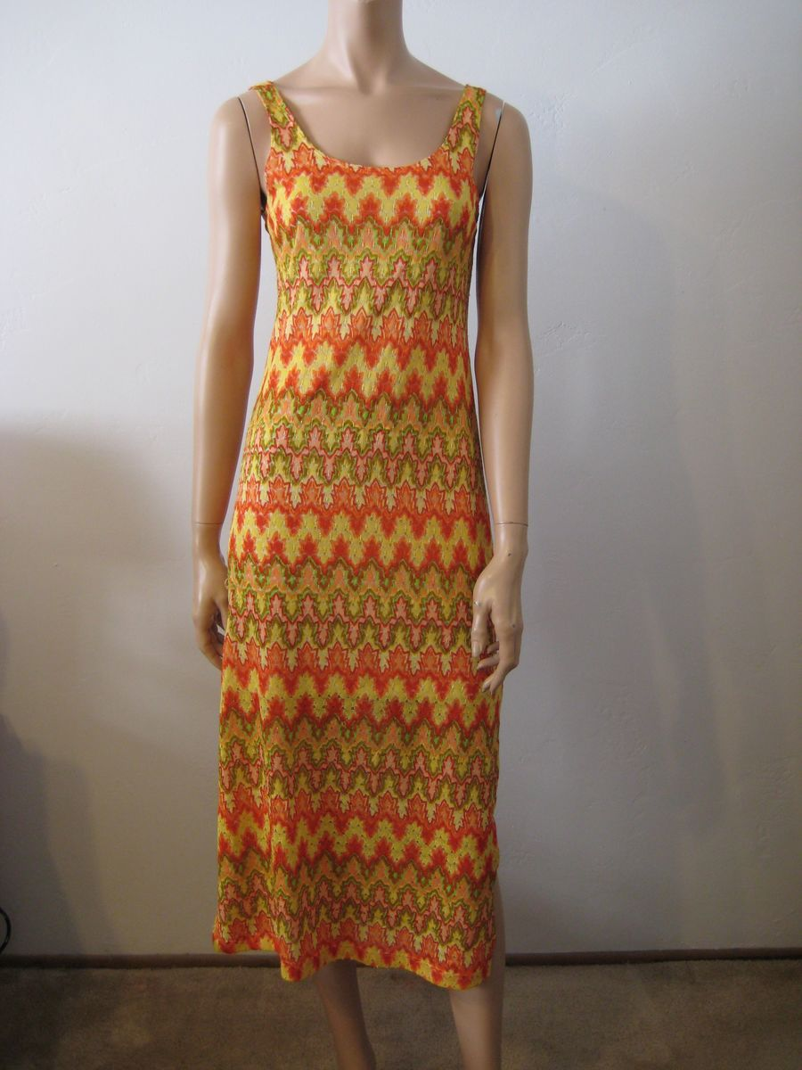Vintage Maxi Dress Flame Stitch Bargello Size S/M - product image