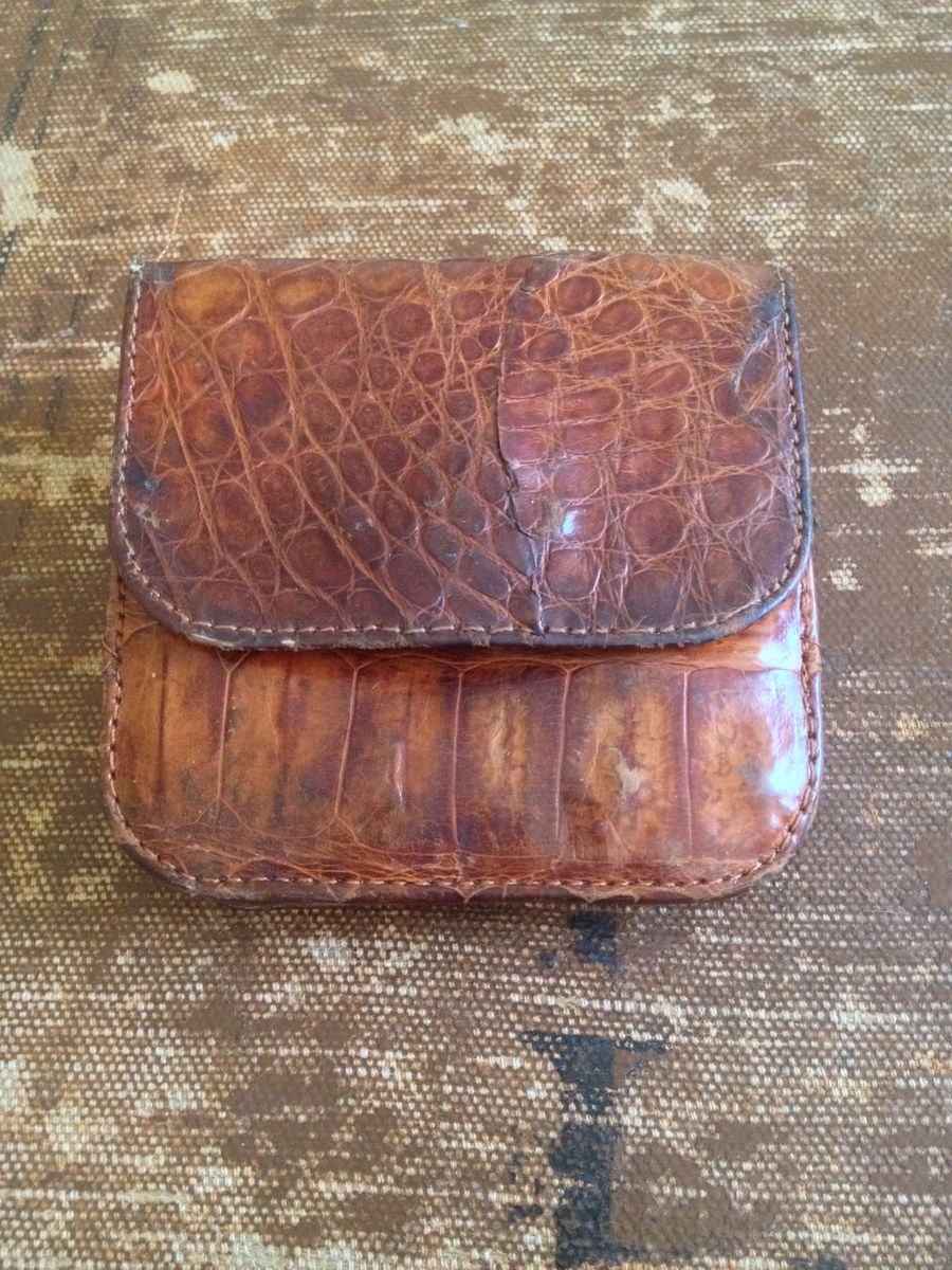 Alligator Wallet With Built in Coin Purse Billfold Vintage - product image