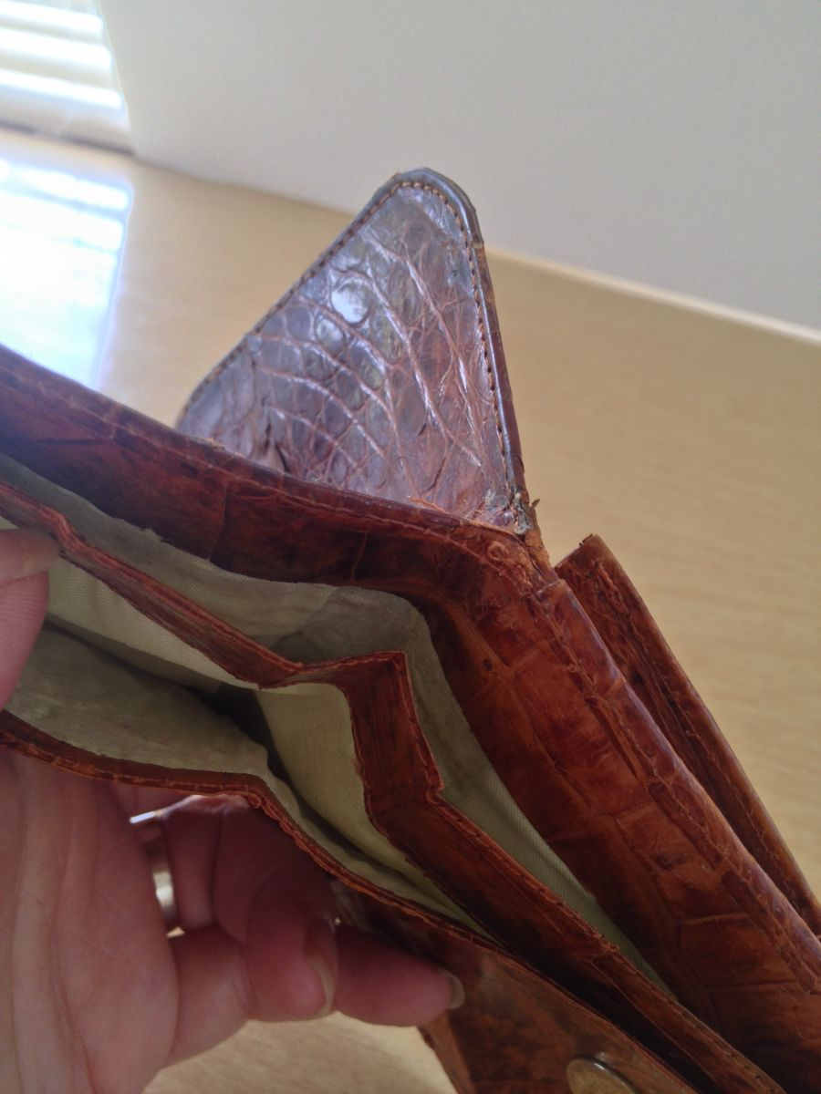 Alligator Wallet With Built in Coin Purse Billfold Vintage - product images  of