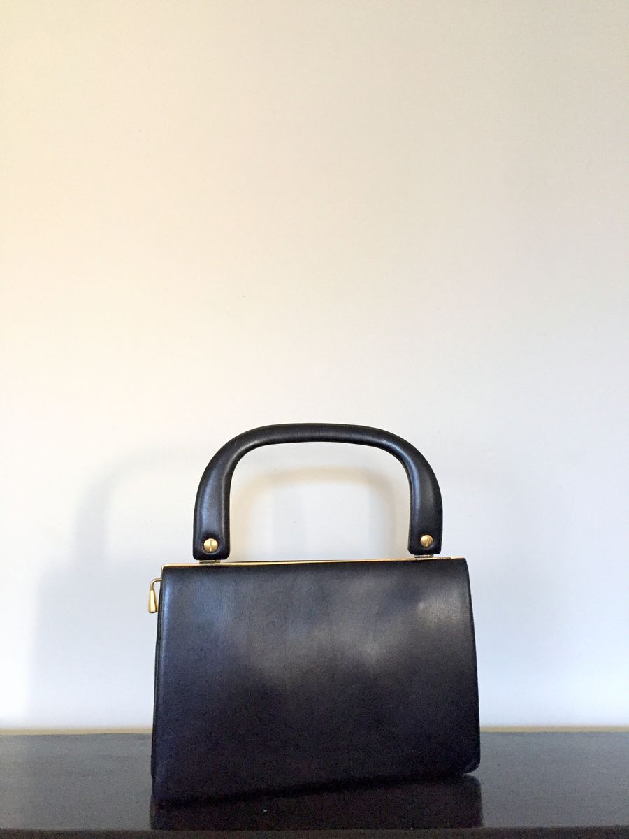 Vintage Black Leather Handbag with Brass Trim and Red Lining - product images  of