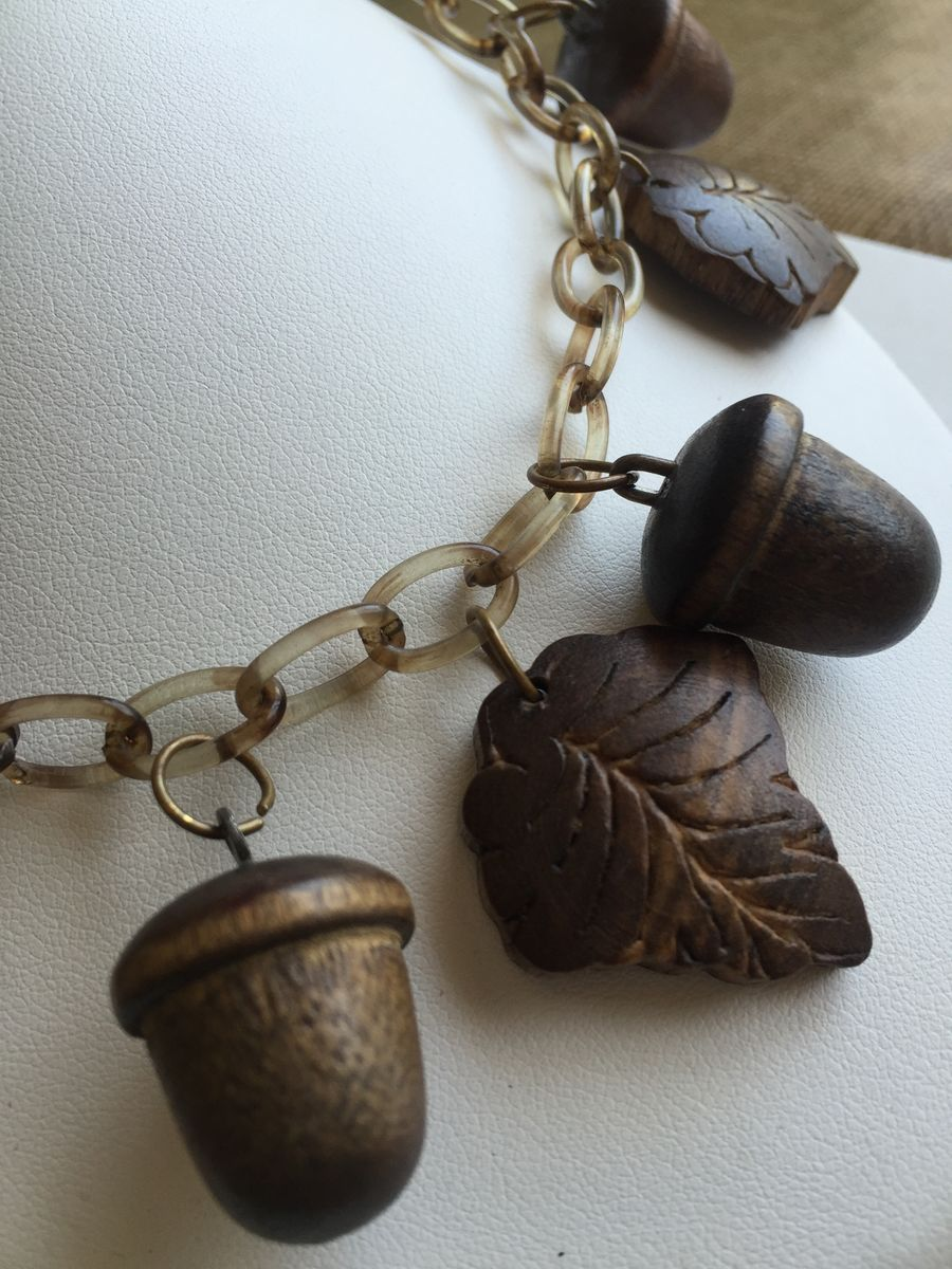 Vintage Celluloid and Wood Necklace - product image