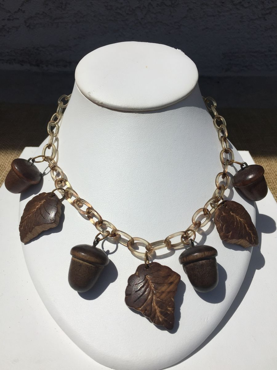 Vintage Celluloid and Wood Necklace - product images  of