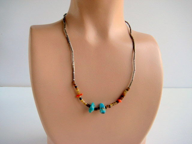 Vintage Silver Turquoise Coral and Heshi Necklace - product image