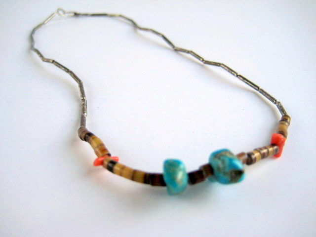 Vintage Silver Turquoise Coral and Heshi Necklace - product images  of