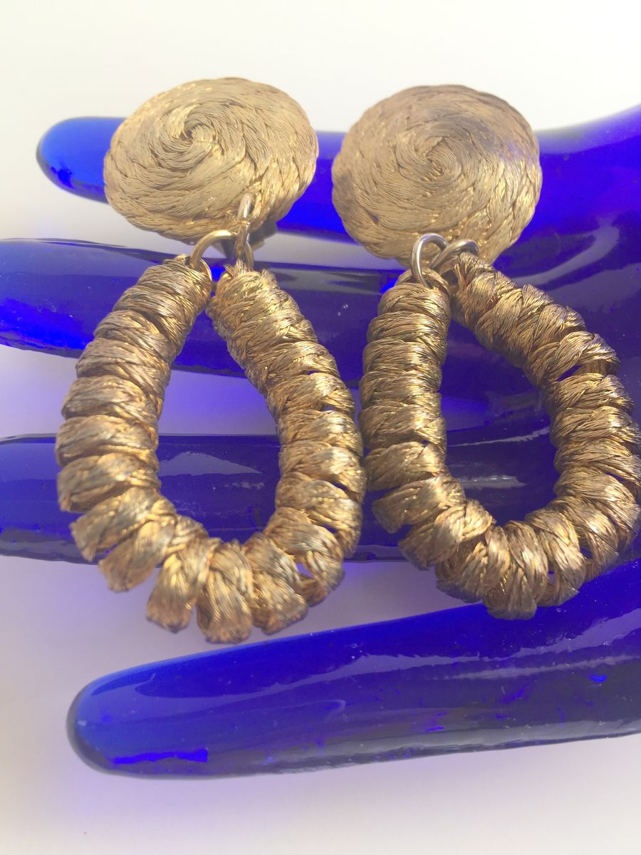 Woven Metal Earrings 1970's - product images  of