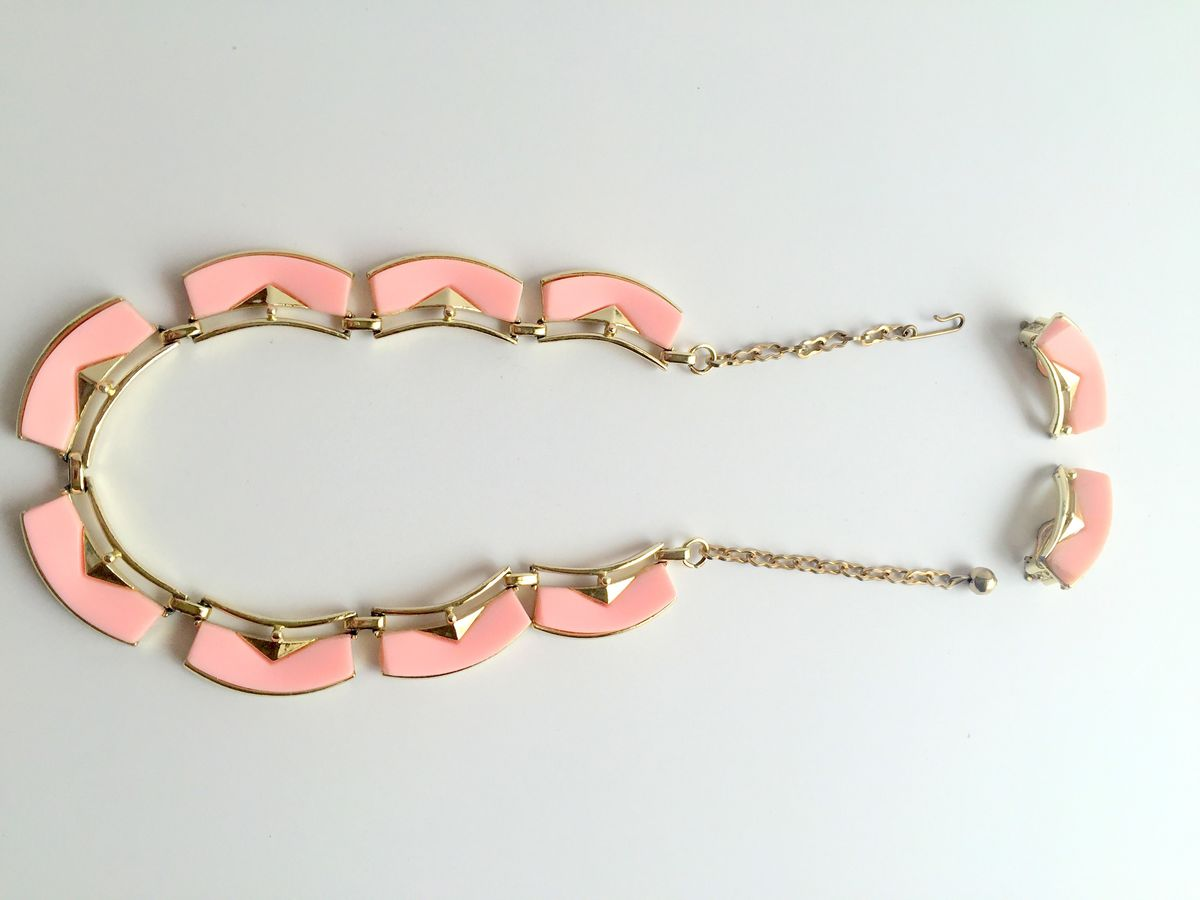 Vintage Lucite Necklace and Earrings Set in Pink - product images  of