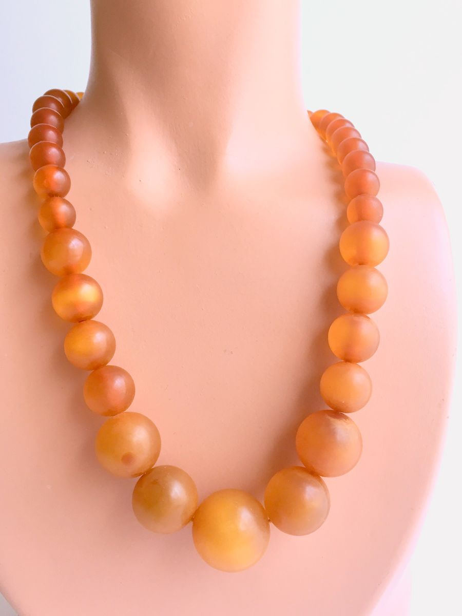 Bakelite Necklace Prystal Apple Juice Graduated Beads - product images  of