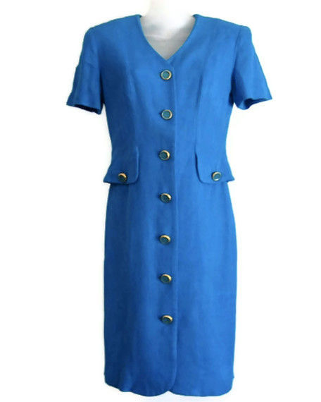 Blue Short Sleeve Dress size 6 Bright Aqua - product image