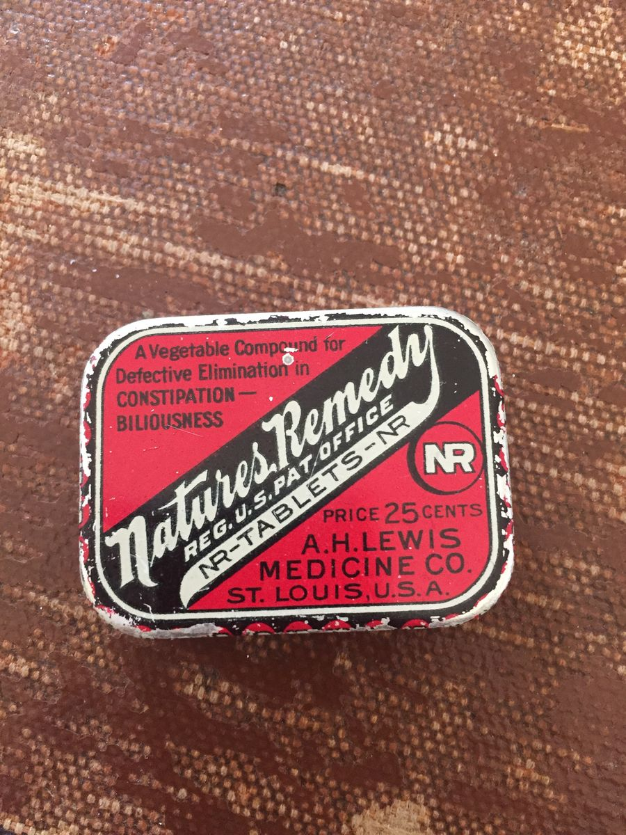 Antique Medicine Tin Natures Remedy NR Tablets - product image
