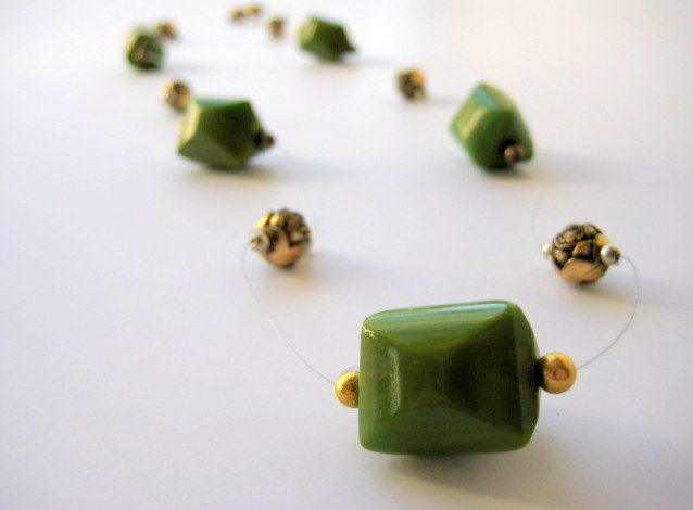 Rare Bakelite Necklace Floating Illusion Beads in Green and Gold - product image