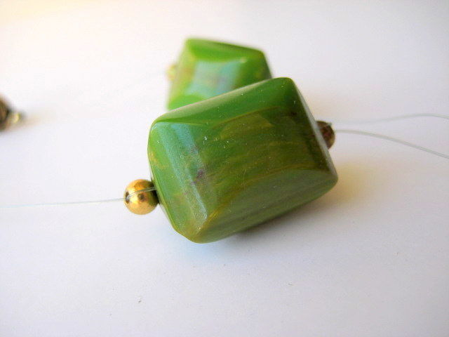 Rare Bakelite Necklace Floating Illusion Beads in Green and Gold - product images  of