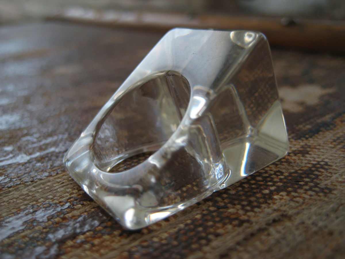 Clear Lucite Ring Block of Ice - product image