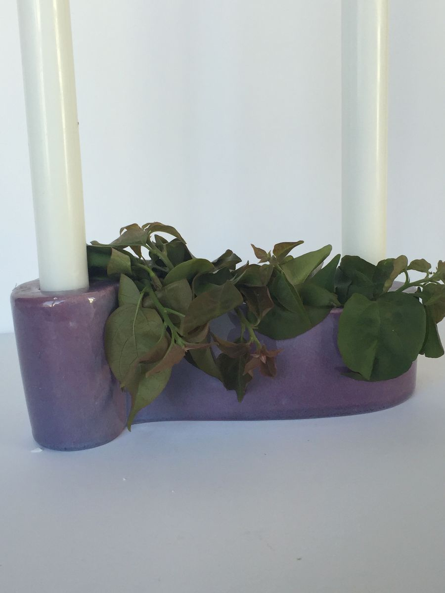 Mid Century Royal Haeger Double Taper Candle Holder in Lavender - product images  of