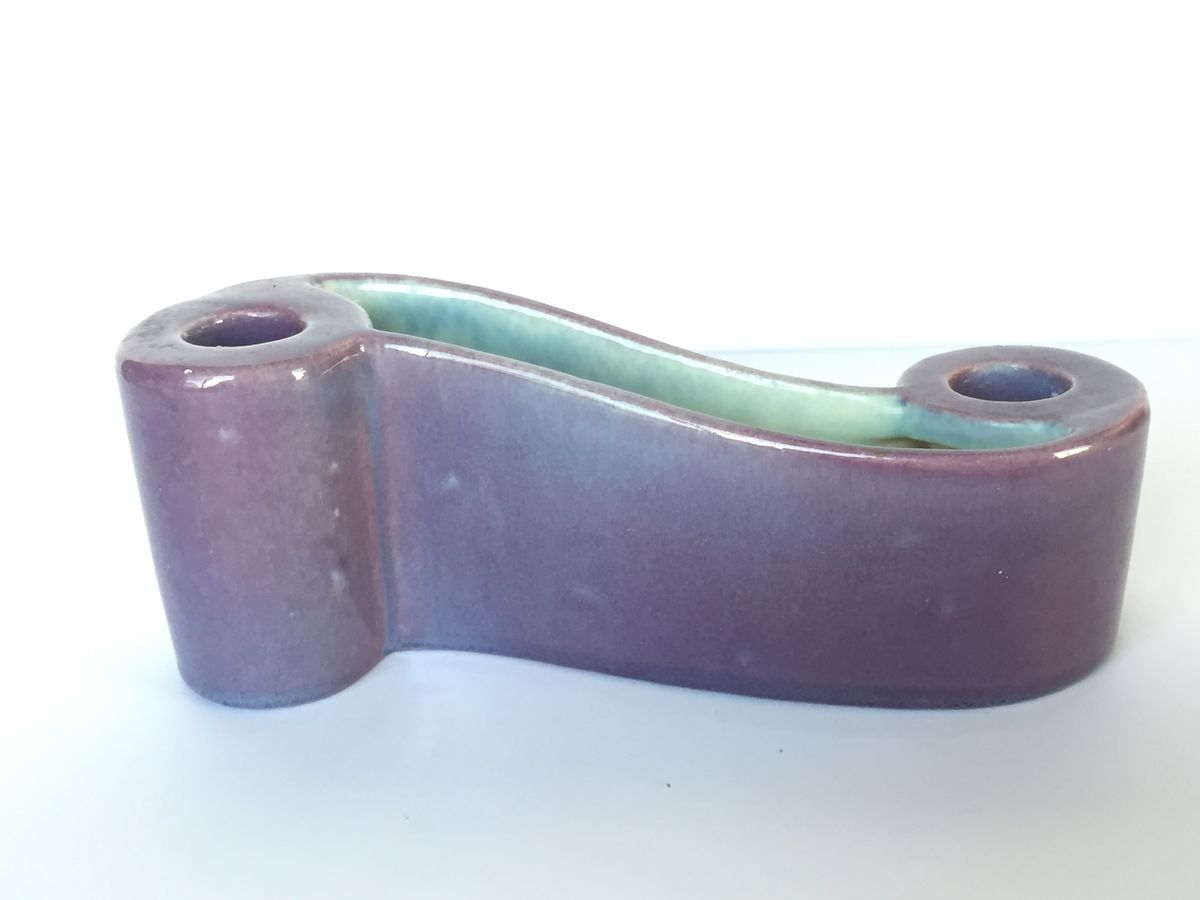 Mid Century Royal Haeger Double Taper Candle Holder in Lavender - product image