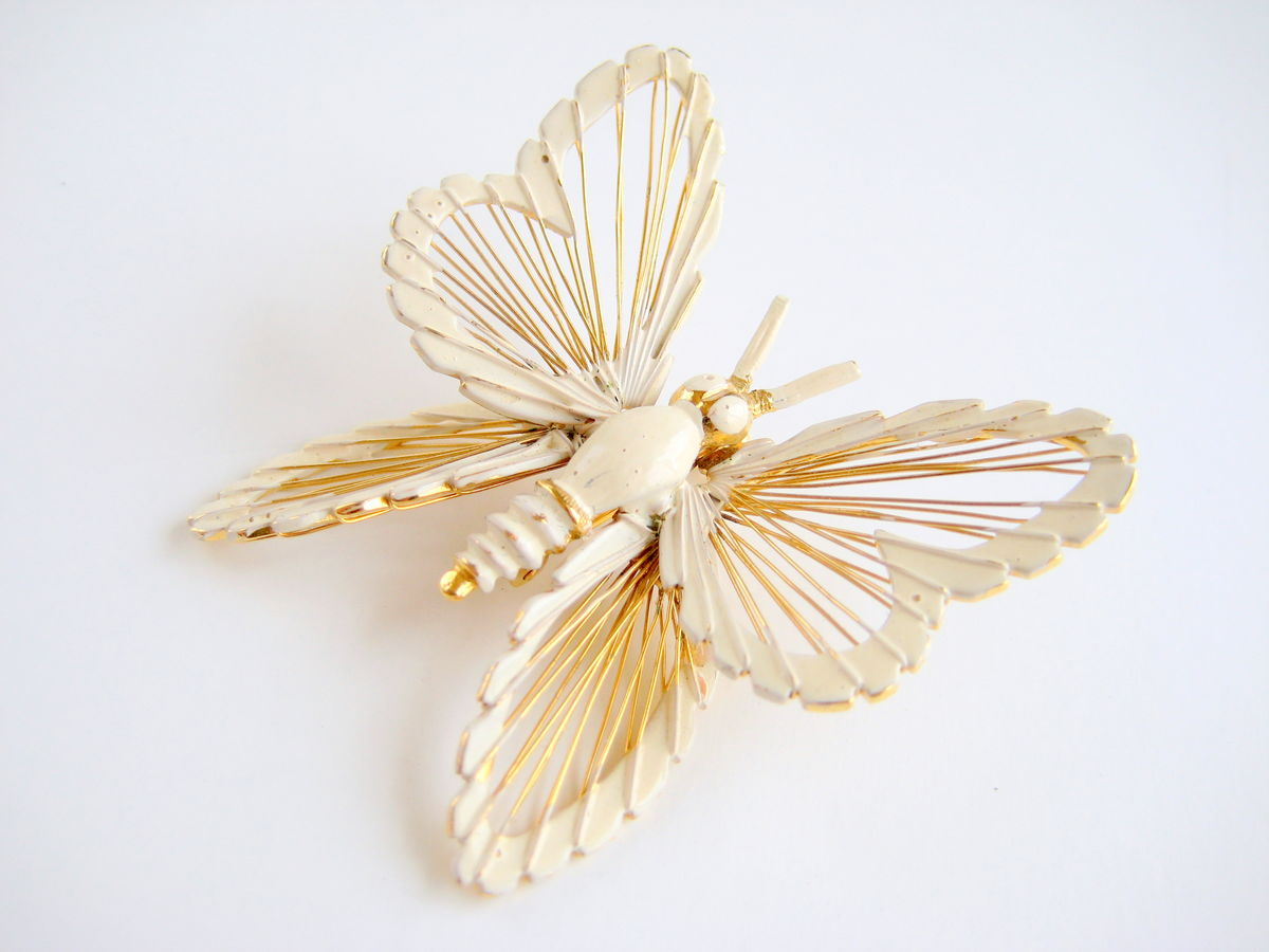 Monet Butterfly Brooch White & Gold - product images  of