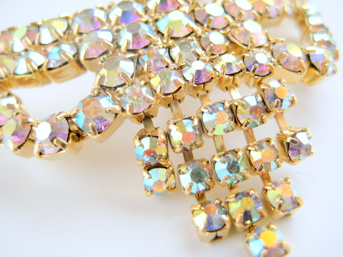 Elegant Rhinestone Shoe Clips Aurora Borealis - product images  of
