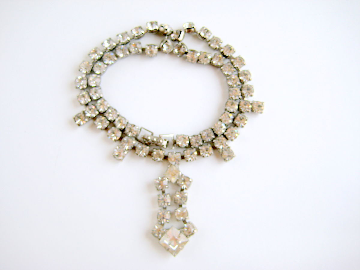 Vintage Rhinestone Necklace Drop Pendant - product images  of