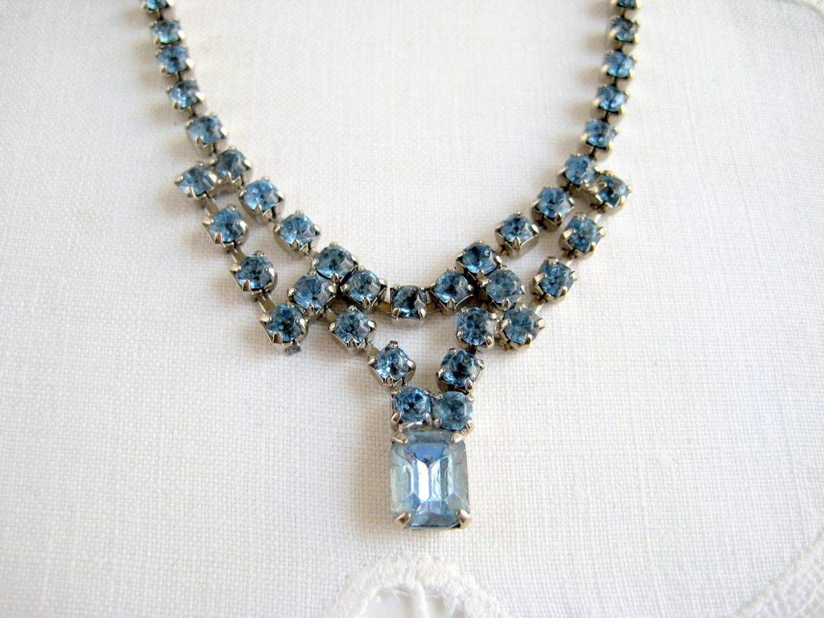 rhinestone amarcord cascading necklace fashion dior christian products from vintage of gold