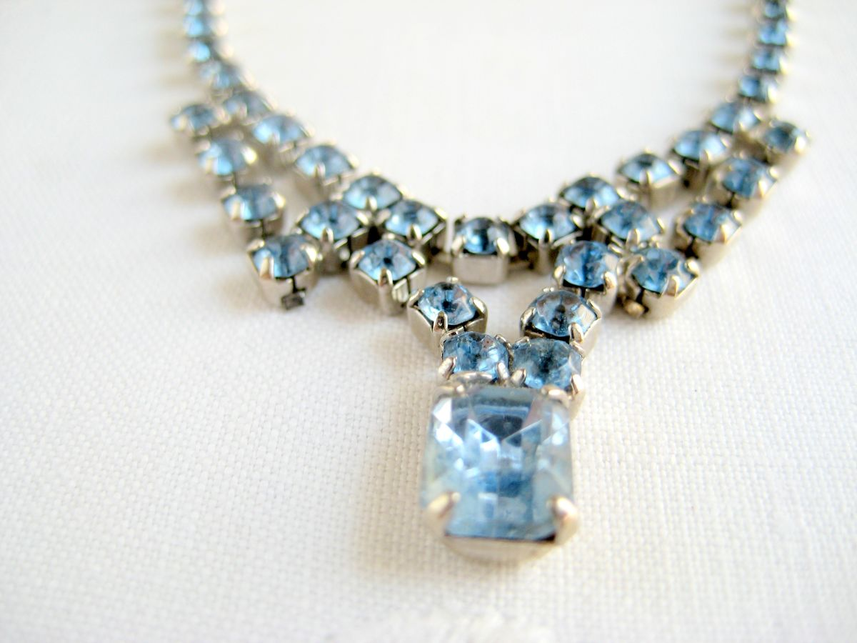 Blue Vintage Rhinestone Necklace - product images  of