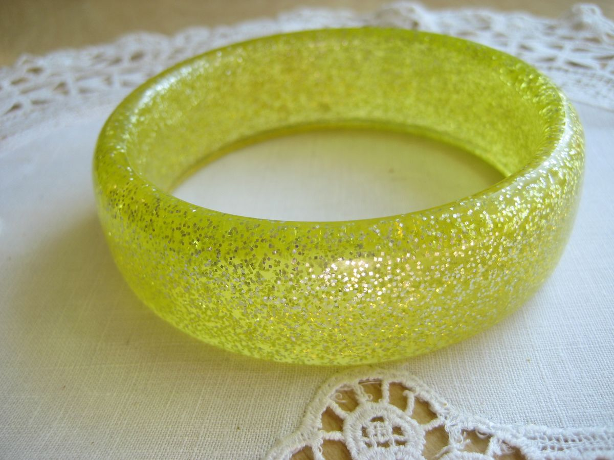 Lemon Yellow Glitter Bangle - product image