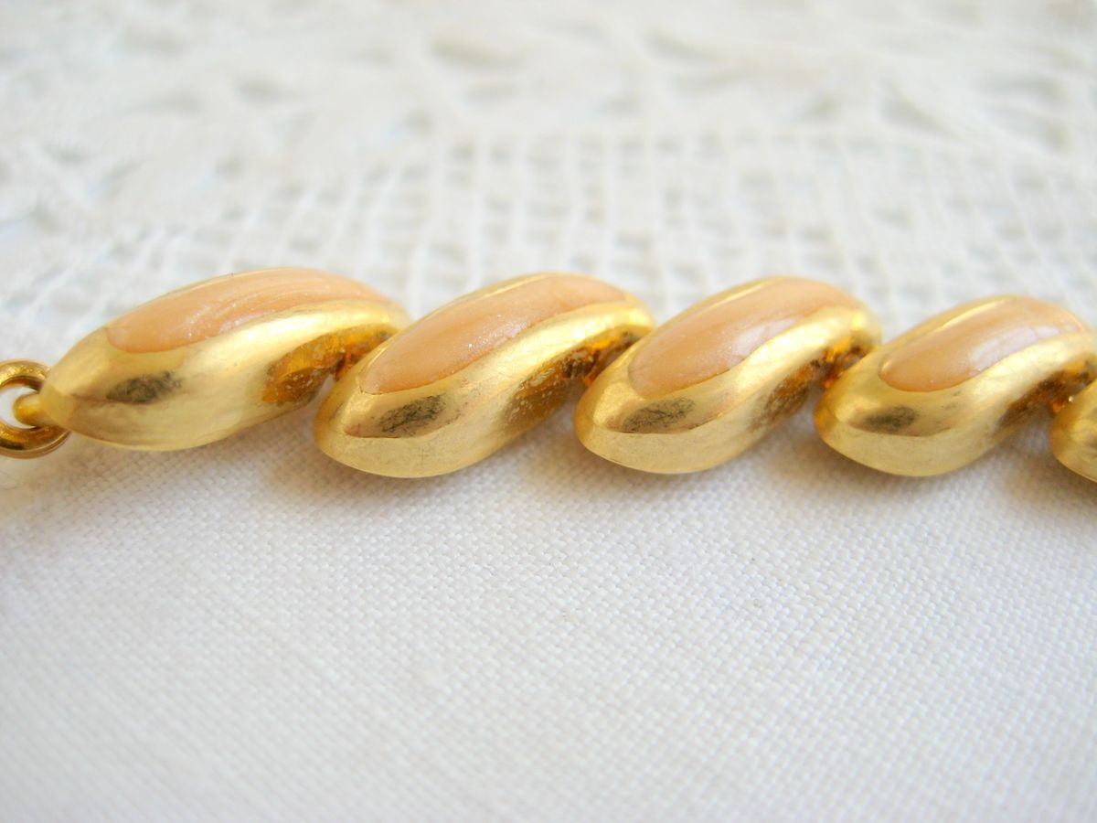 Gold Tone & Apricot Enamel Necklace - product images  of