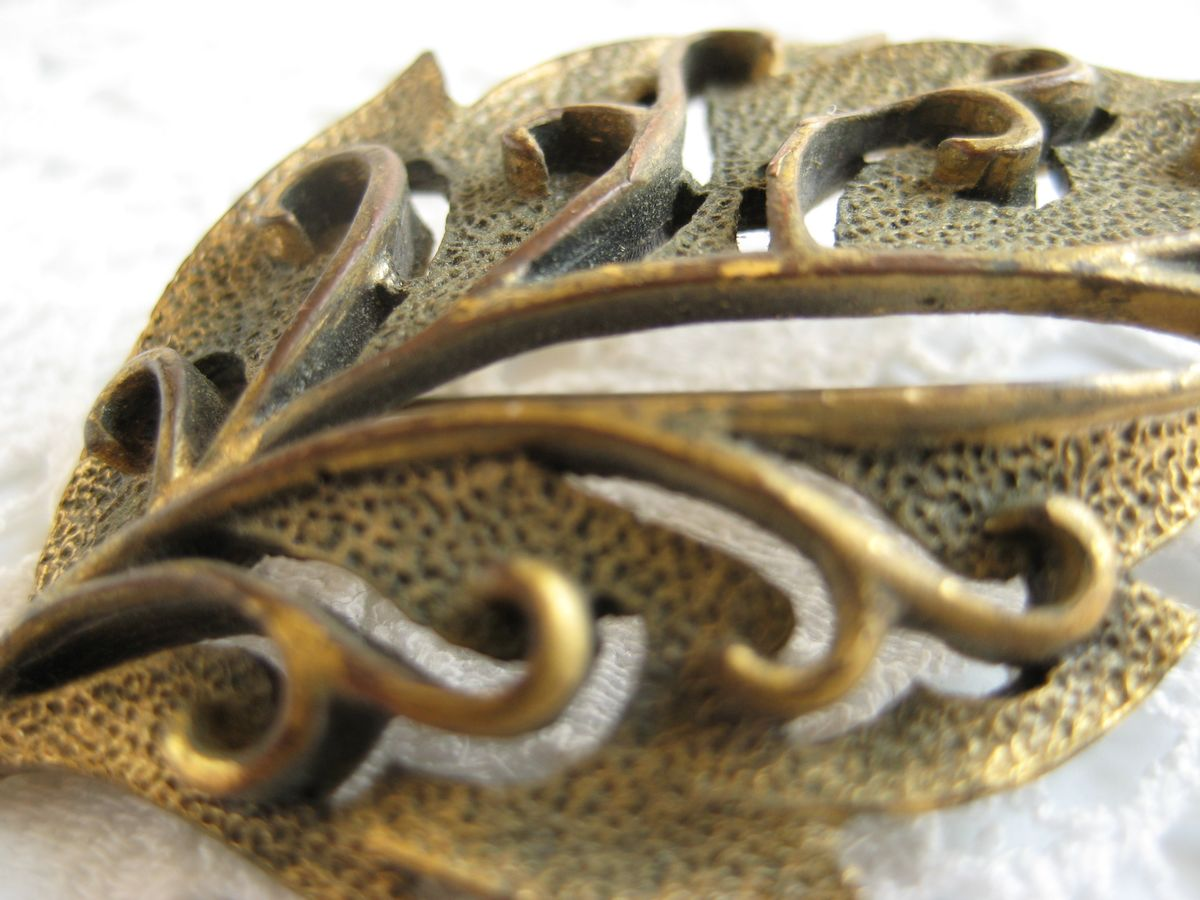 Vintage Brass Leaf Brooch - product images  of