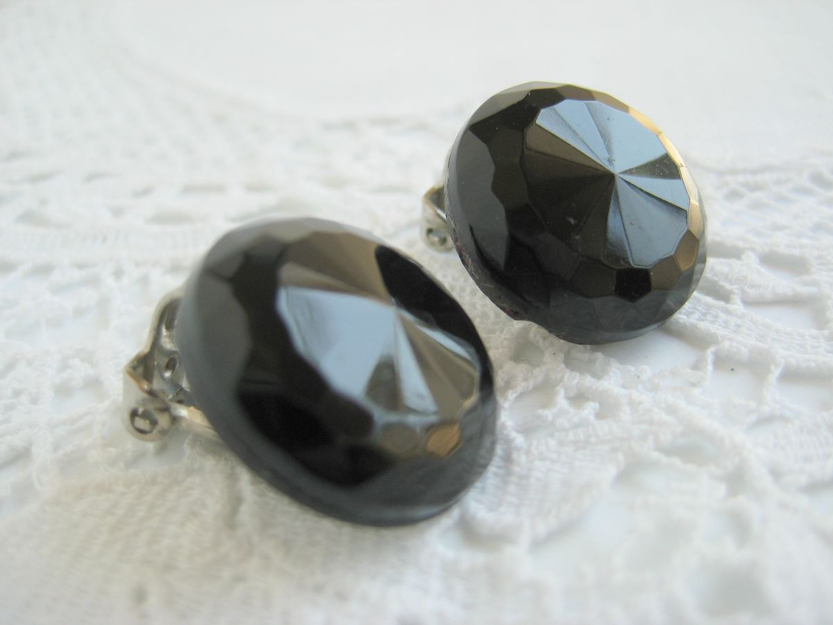 Vintage Faceted Glass Button Earrings - product images  of