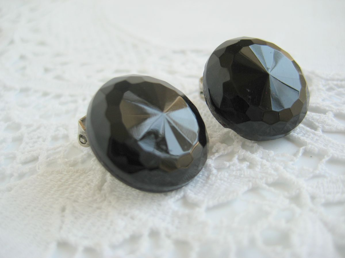 Vintage Faceted Glass Button Earrings - product image