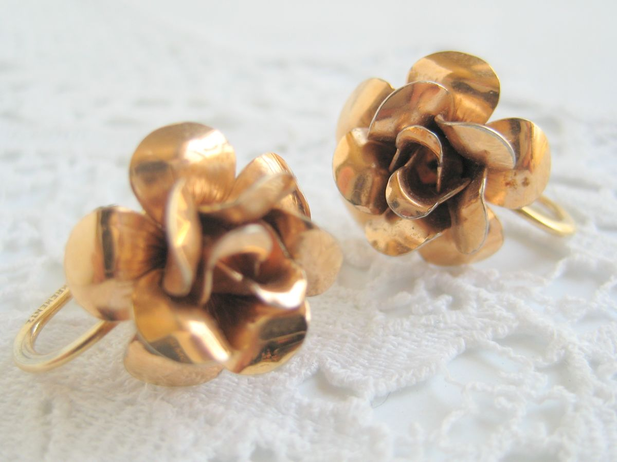 Gold Tone Rose Earrings - product images  of