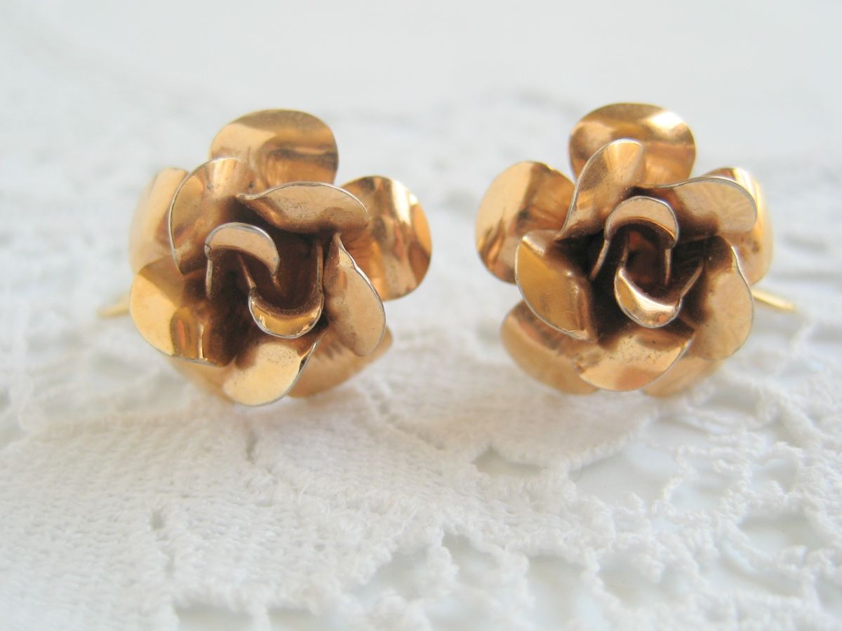 Gold Tone Rose Earrings - product image