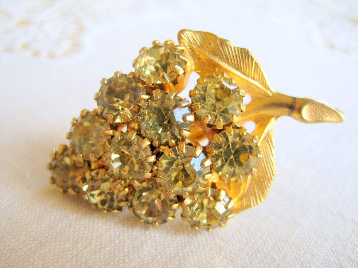 Rhinestone Grape Cluster Brooch - product image