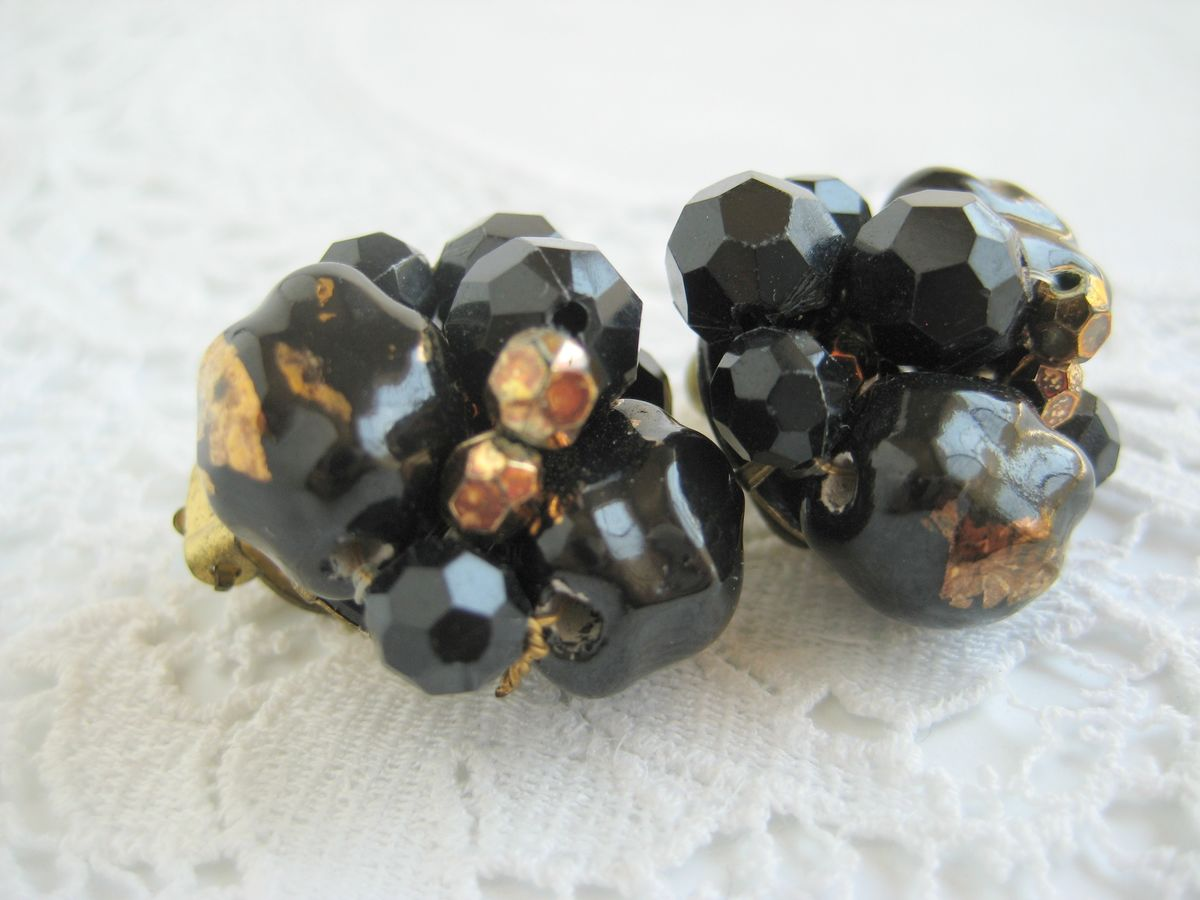 Black and Gold Cluster earrings - product images  of