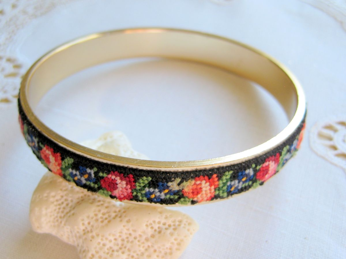 Petit Point/Needlepoint Bangle Bracelet - product image