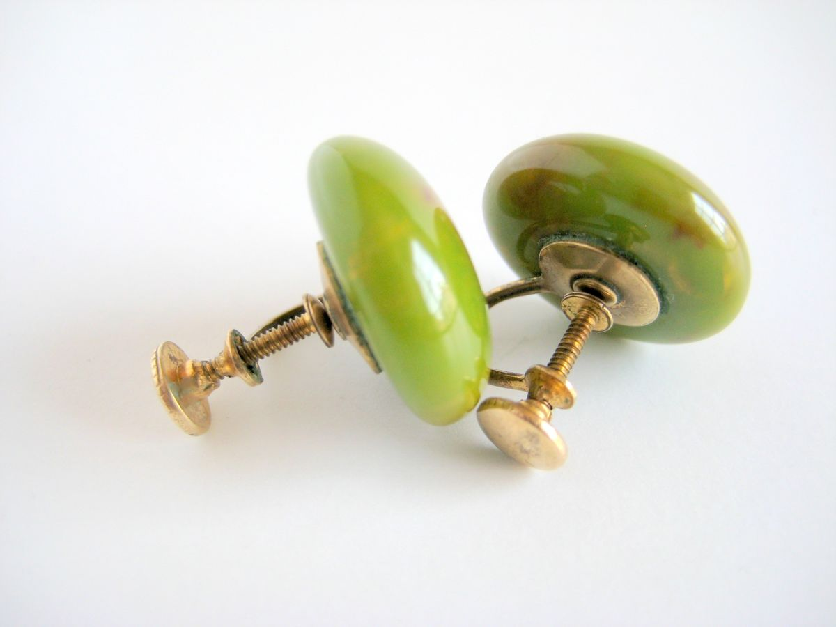Bakelite Button Earrings Spinach Green - product images  of