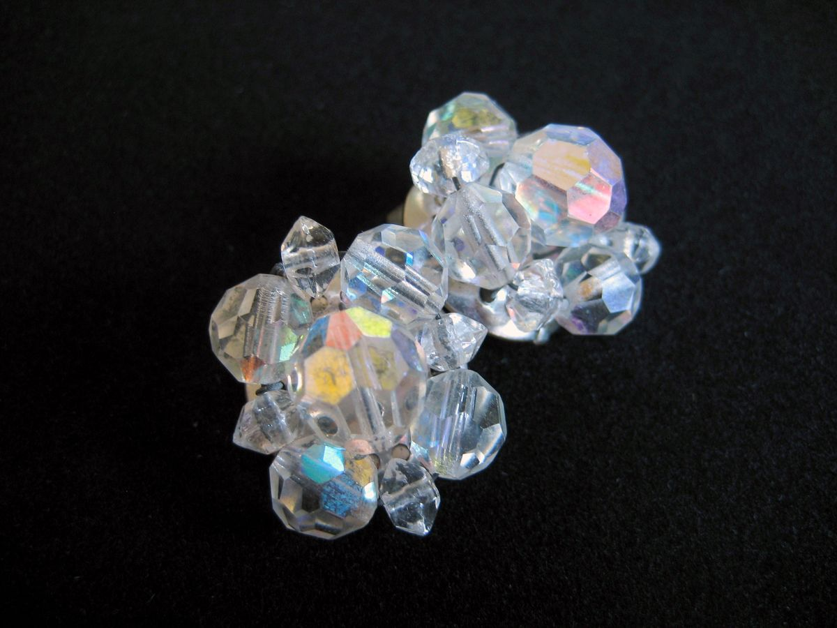 Vintage AB Crystal Cluster earrings - product image