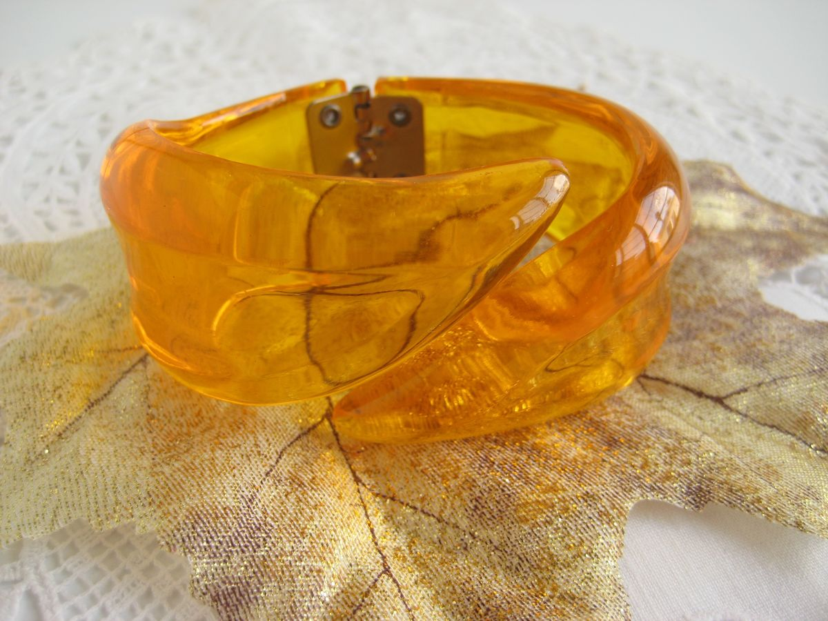 Lucite Bypass Bracelet in Orange - product image