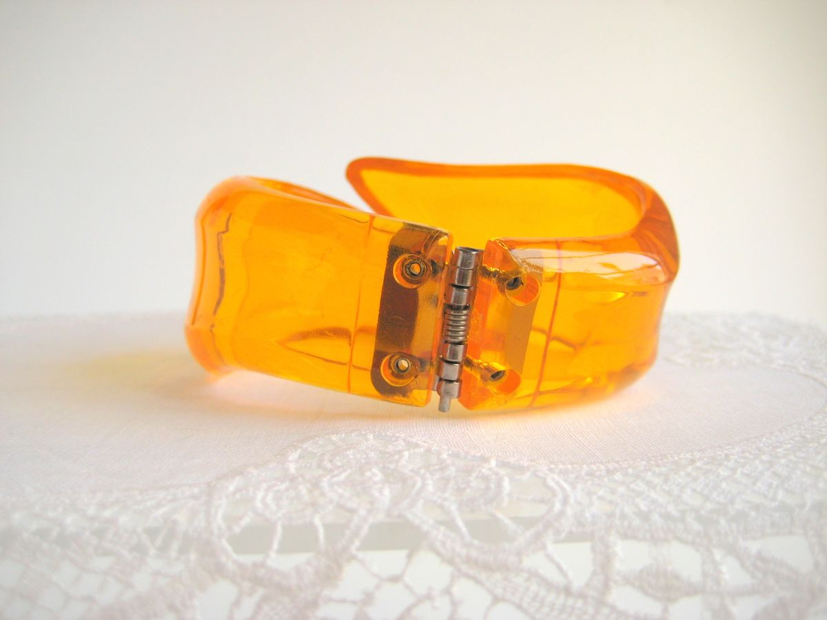 Lucite Bypass Bracelet in Orange - product images  of