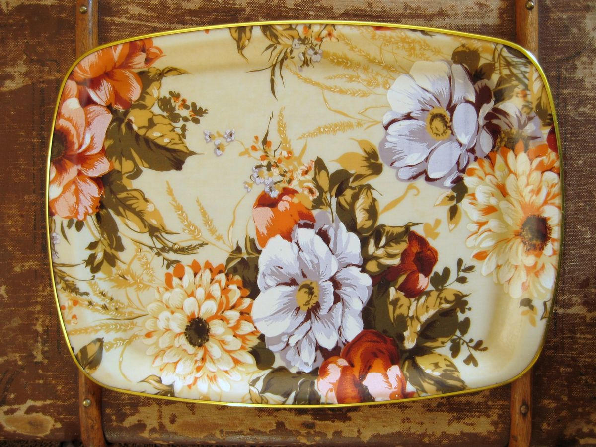 Floral Fiberglass Tray in autumn colors - product image