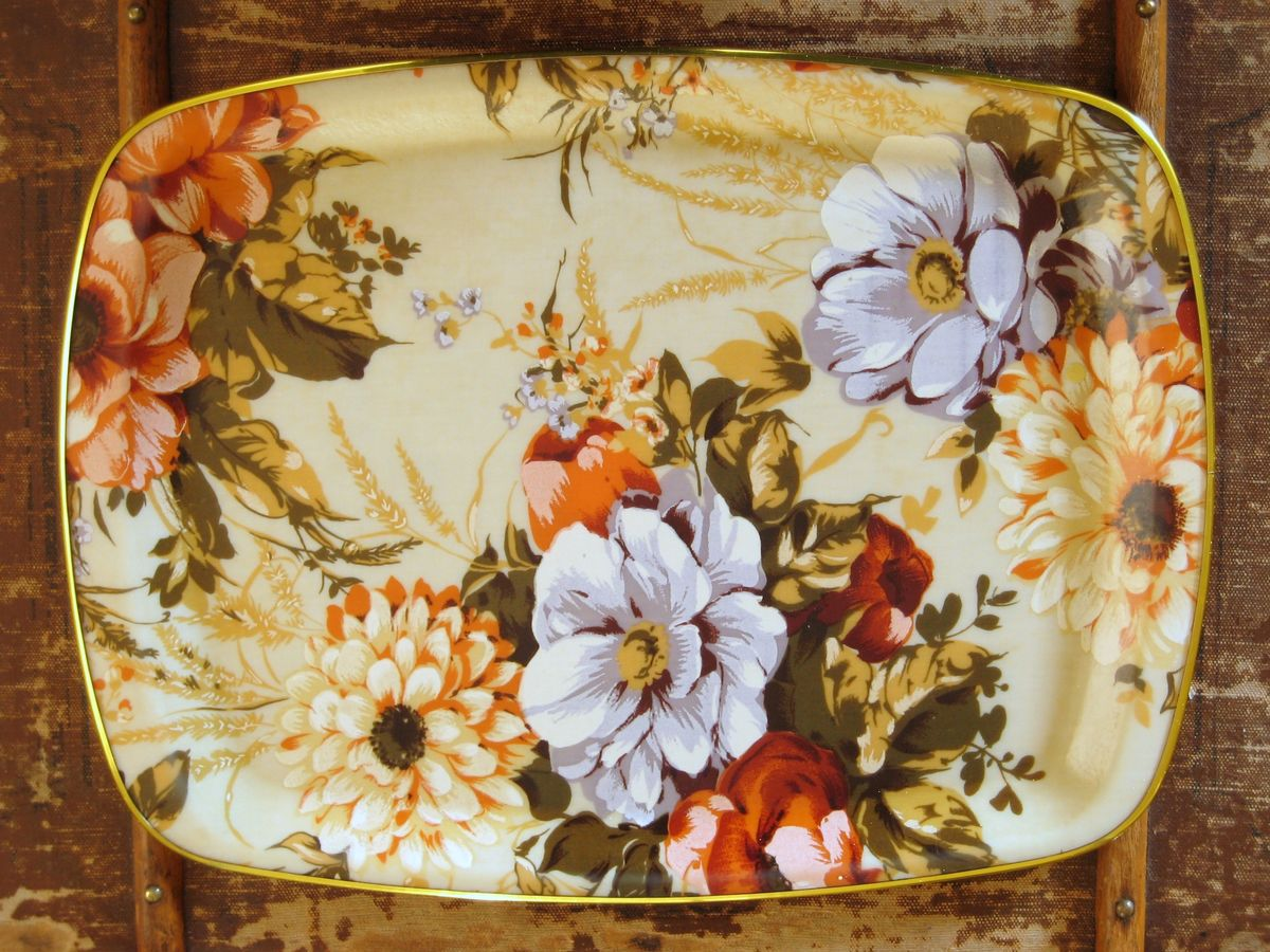Floral Fiberglass Tray in autumn colors - product images  of