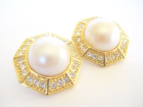 Rhinestone and Pearl Earrings - product image