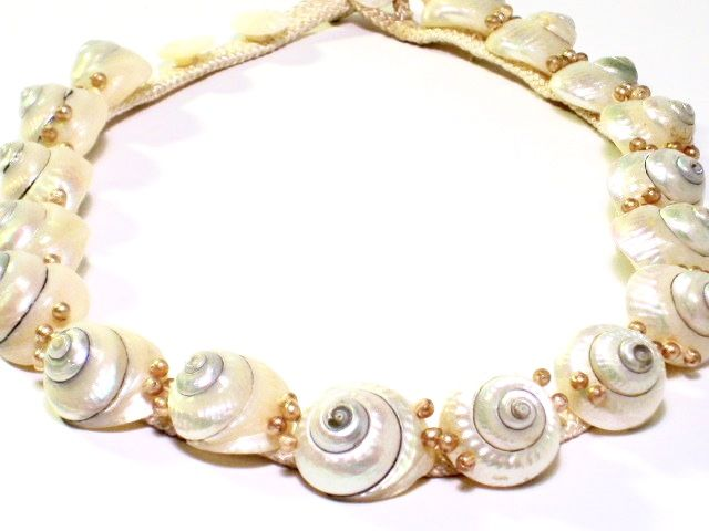 Vintage Shell Necklace on Silk Cord  - product images  of