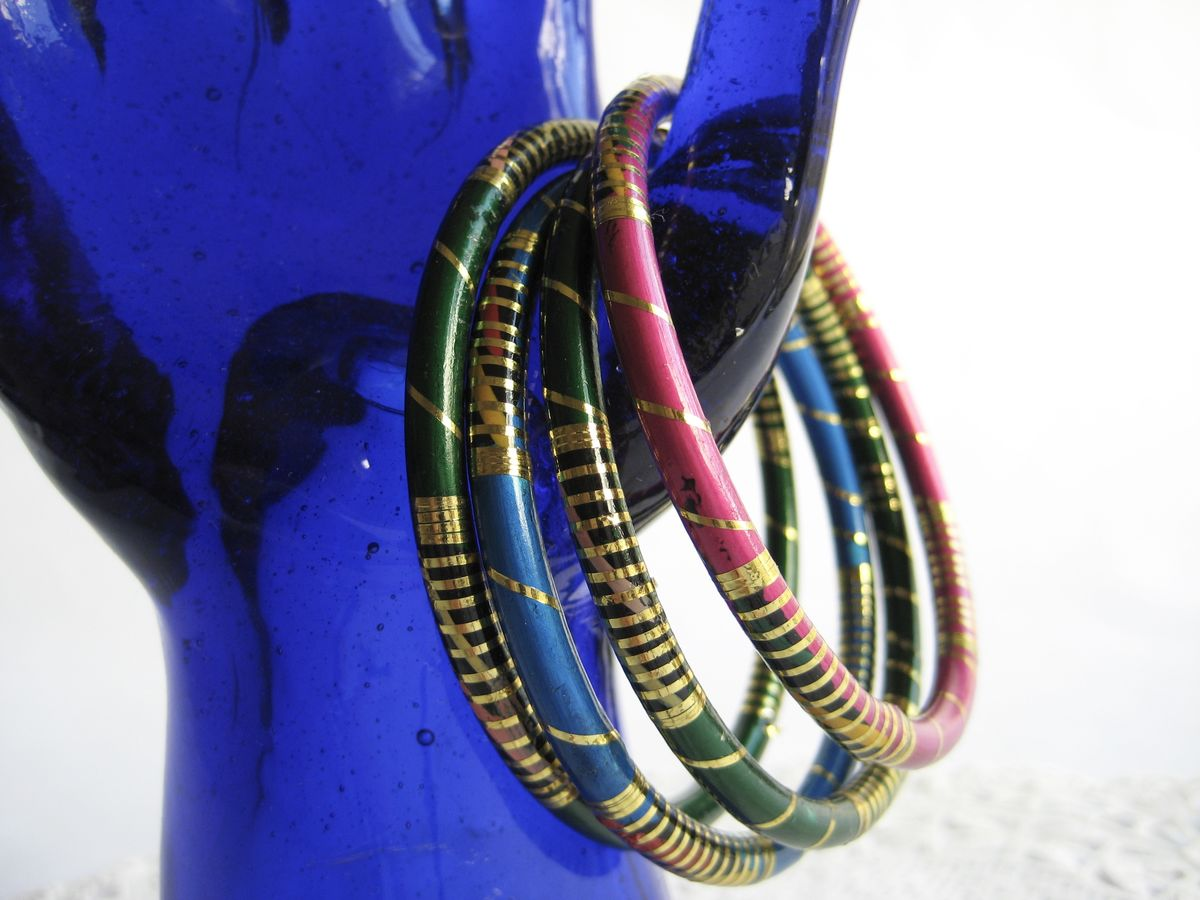 Slim Enamel Bangle Stack (set of 4) - product images  of