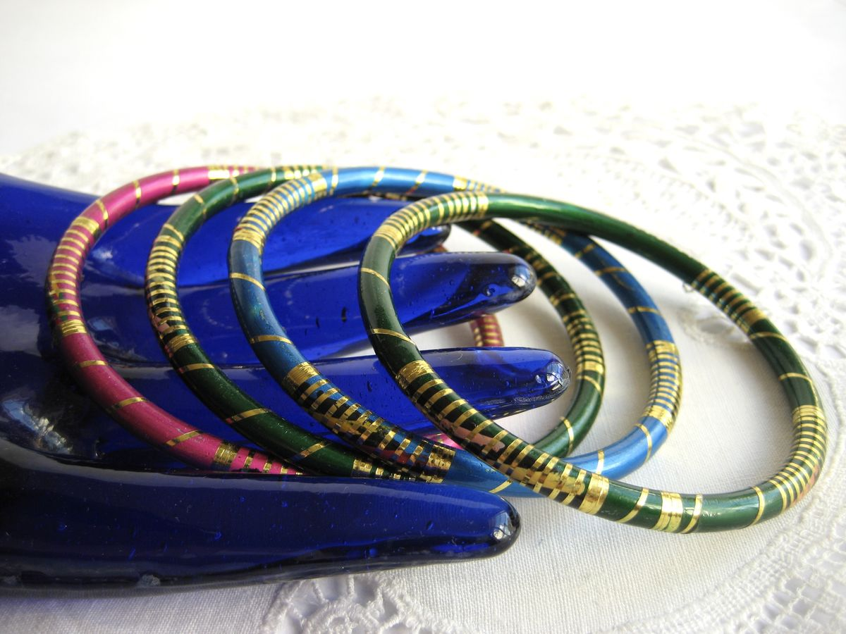 Slim Enamel Bangle Stack (set of 4) - product image