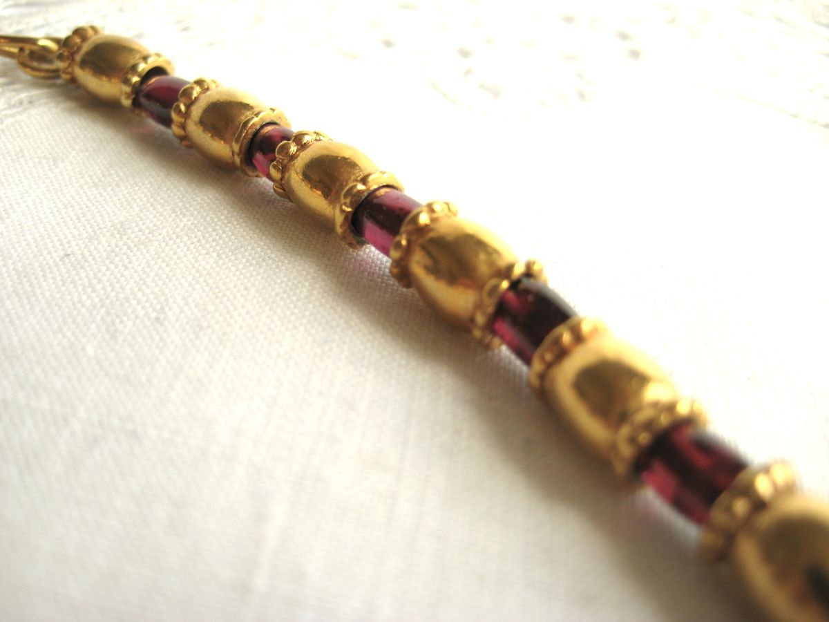 Garnet and Brass beaded necklace  - product images  of